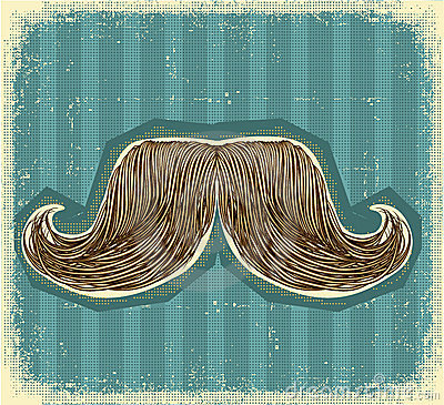 Mustaches symbol set on old paper texture.