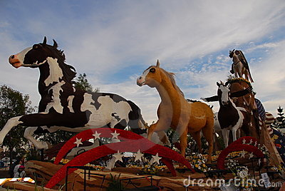 Mustang Monument float at the 122nd tournament of Editorial Stock Image