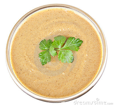 Mustard in bowl and parsley