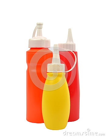 Mustard and ketchup squirt bottles isolated