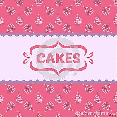 Muster mit kuchen und kleinen kuchen vektor abbildung for Musterkuchen mit kochinsel