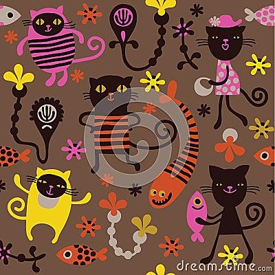 Muster mit Spaßkatzen