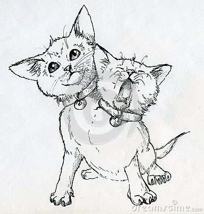 Mutant Kitten With Two Heads Stock Image - Image: 38545601Three Headed Animal Drawing