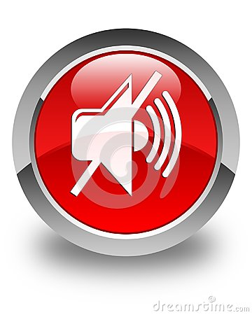Free Mute Volume Icon Glossy Red Round Button Stock Photography - 104730022