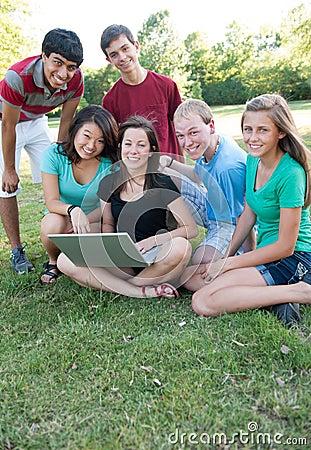 Muti-ethnic group of teens outside