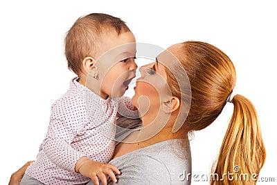 Mutter und überraschtes Baby