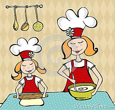 Mutter und Tochter, die Spaß kochen und haben