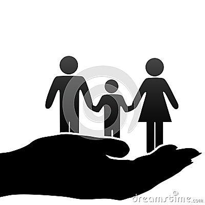 Muttervaterkind-Familiensymbole in schalenförmiger Hand
