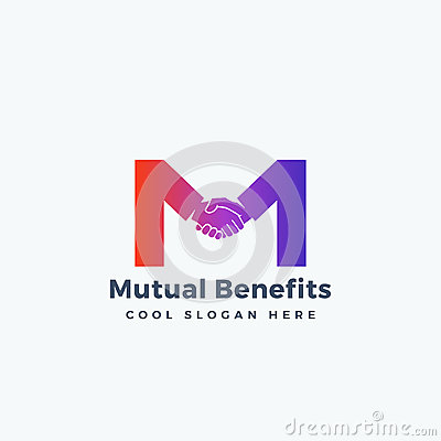Mutual Benefit Abstract Vector Sign, Symbol or Logo Template. Hand Shake Incorporated in Letter M Concept. Vector Illustration