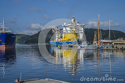 Mv north sea giant moored to the dock at the port of halden, nor Editorial Stock Image