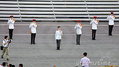MWO Jennifer Tan leading the parade at NDP 2011 Editorial Stock Photo