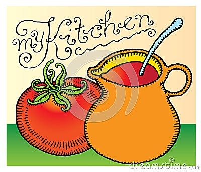My kitchen headline typography with tomato sauce