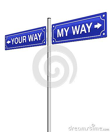 Free My Way Your Way Roadsign Stock Photo - 93579190