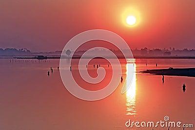 Myanmar, Amarapura, sunset at  U Bein