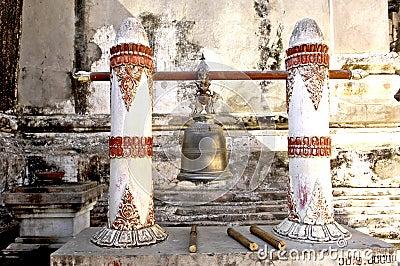 Myanmar, Bagan: bell in a pagoda