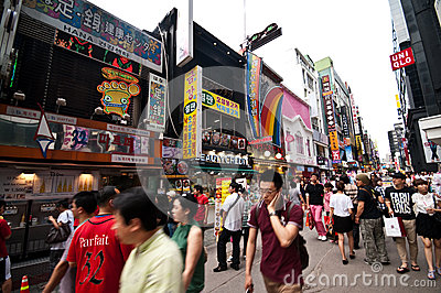 Myeongdong district in Seoul Editorial Image
