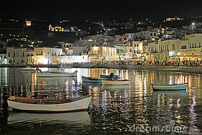 Mykonos Old Port at Night