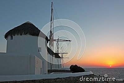 Mykonos Windmills at Sunset