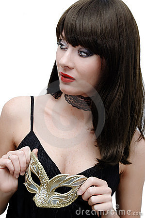Mysterious brunette with venetian mask
