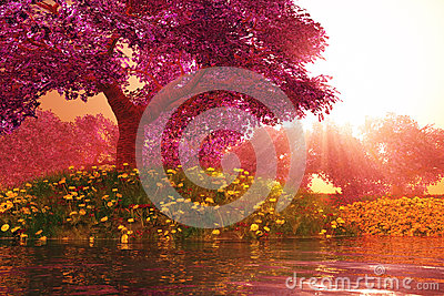 Mysterious Cherry Blossoms Japanese Garden cartoony 3D render