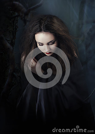 Free Mysterious Dark Woman In Forest At Night. Book Cover Stock Photos - 44459093
