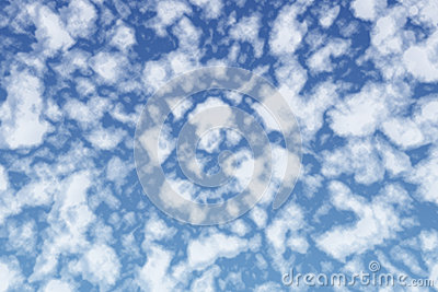 Mysterious fluffy white clouds in blue summer sky