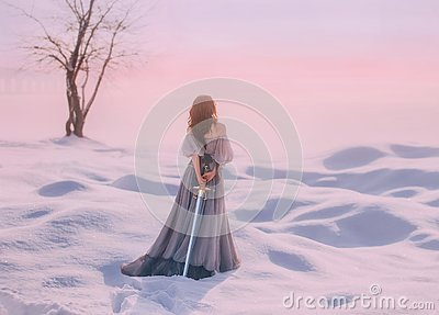Mysterious lady from Middle Ages with dark hair in gentle gray blue dress in snowy desert with open back and shoulders Stock Photo
