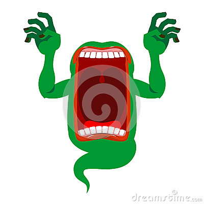 Free Mysterious Phantom. Angry Hungry Spirit. Scary Ghost Shouts. Ho Royalty Free Stock Photography - 79754367