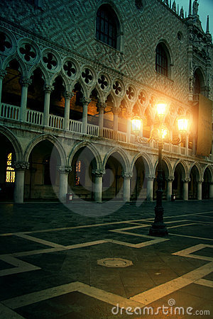 Mysterious plazza in the evening in Venice