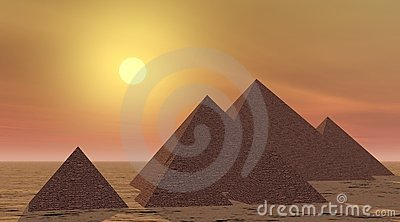 Mysterious pyramids by sunset