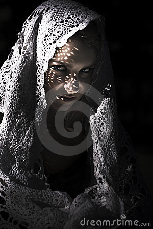 Mysterious Sinister Woman In Shawl