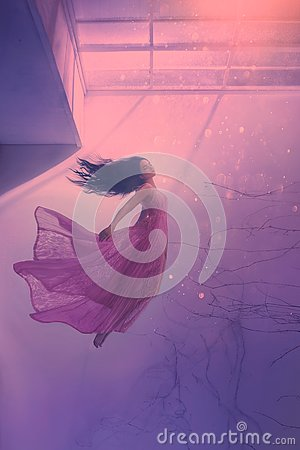 Mysterious sleeping girl with long flowing black hair, levitating beauty in long flying pink tender dress, sinking lady Stock Photo