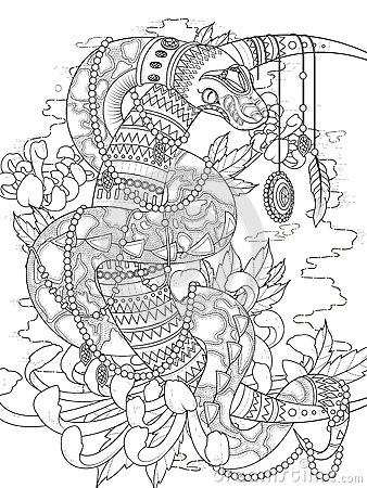 Mysterious Snake Adult Coloring Page Stock Illustration