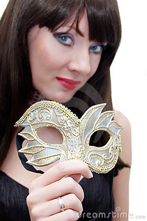 Free Mysterious Woman Holding Venetian Mask Royalty Free Stock Image - 11361136