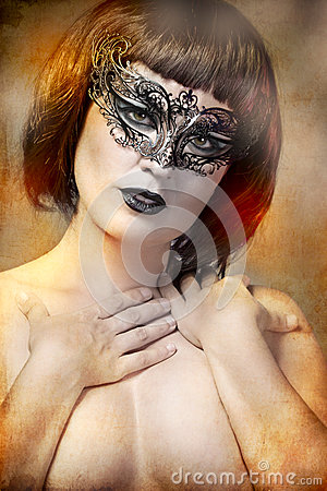 Free Mysterious Woman With Artistic Style Venetian Mask Royalty Free Stock Photo - 26049895