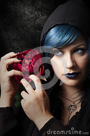 Free Mysterious Young Woman With Red Rose. Blue Hair Stock Photo - 58393690