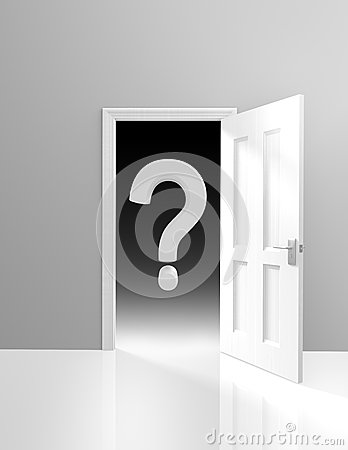 Free Mystery And Uncertainty Concept Of A Door Opening To The Unknown, With A Large Question Mark Royalty Free Stock Photo - 47714585