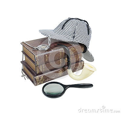 Free Mystery Books With Hat, Magnifier, Pipe And Pocket Watch Stock Photos - 43035763