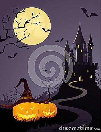Mystery castle, full moon