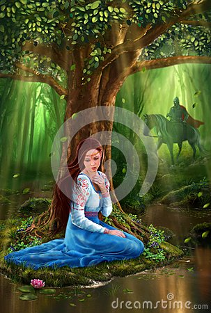 Free Mystery Fairytale Maiden And Prince In The Forest Stock Image - 27015091