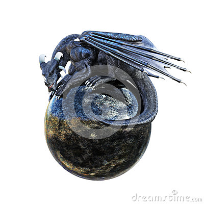 Free Mystic Dragon Posing On A Sphere Stock Photo - 66430890