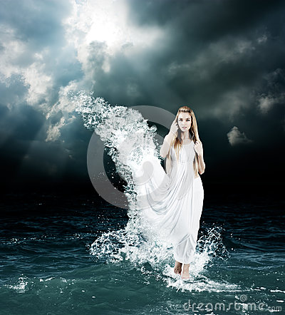 mystic goddess in stormy sea royalty free stock photos