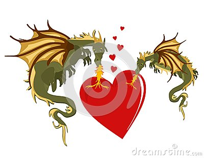 Mystical Dragons in burning love...