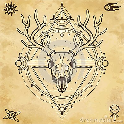 Free Mystical Image Of The Skull A Horned Deer, Sacred Geometry, Symbols Of The Moon. Royalty Free Stock Photos - 121763188