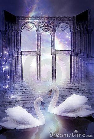 Free Mystical Swans With Divine Gate Like Artistic Surreal Magic Dreamy Concept Stock Photo - 133929640