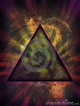 Mystical Triangle Against Deep Space Background