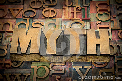 Myth word in wood type