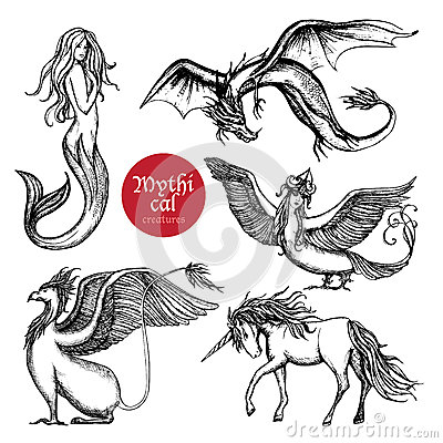 Free Mythical Creatures Hand Drawn Sketch Set Stock Photo - 59553920