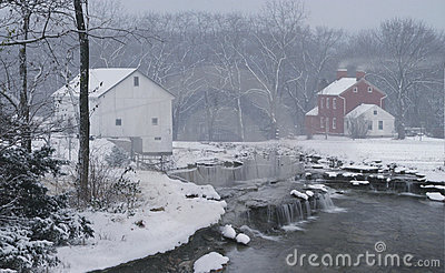 Mythical Farm in Winter Snow