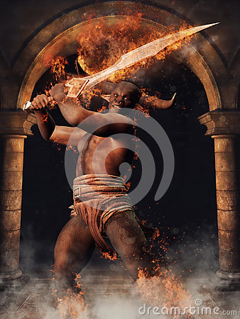 Mythological Minotaur With A Sword Stock Illustration